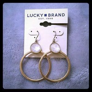 Lucky Brand Stone Gypsy Hoop Earrings